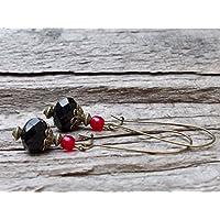 Vintage Kidney Ohrringe mit böhmischen Glasperlen - schwarz, rot & bronze - B-WARE zum SONDERPREIS