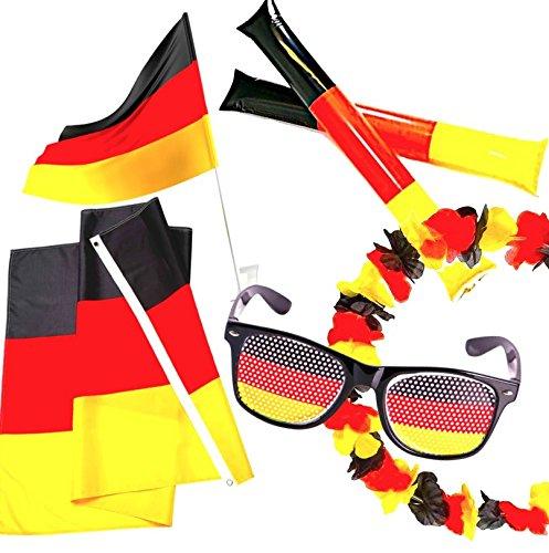 WM Fanartikel Set 2018 Deutschland: Auto Fahne, Blumenkette, Fanbrille, Klatschstangen, Große Flagge 150x90cm - FIFA Fussball Weltmeisterschaft Damen, Herren und Kinder Fußball Fans + GRATIS Spielplan