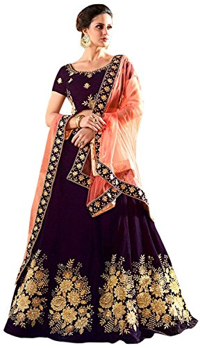 Globalia Creation Embroidered Semi Stitched Legenga Choli and Dupatta Set (purple) (Free...