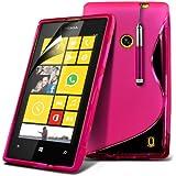 (Hot Pink) Nokia Lumia 520 / 525 Schutzhülle S-line Hydro Wave Gel Skin Case Hülle Cover, Aus- und einfahrbarem Touchscreen Stylus Pen & LCD Screen Protector Guard von Spyrox