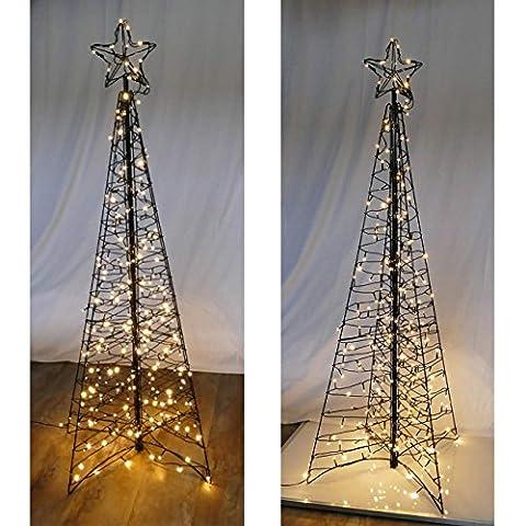 Moderner Weihnachtsbaum 160 cm Metall/Lichterketten 264 LED von Gartenpirat®