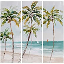 Cuadros de paisaje oriental verdes de lienzo para salón de 30 x 90 cm Vitta - Lola Derek