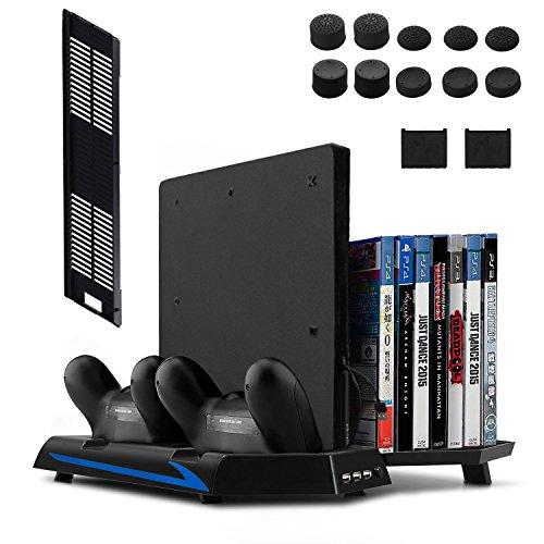 Keten PS4 Slim/ PS4 Soporte Vertical con Ventilador 2 en 1, Puerto de carga, Almacenamiento para Juegos y Puerto con 3 Espacios para USB - An área Todo en Uno para Sus necesidades de juego
