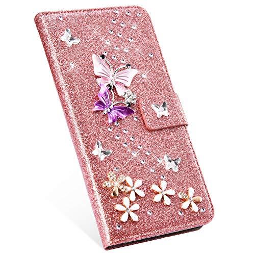 Ukayfe Compatibile con iPhone 5S/SE Custodia in Pelle Bling Glitter Diamante Strass Brillantini Portafoglio Custodia Farfalle Modell Stand Magnetico Flip Case-Oro Rosa
