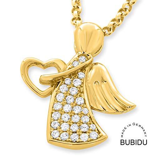 Engelkette 925 Silber Kette Engel Gold ❤️ Goldkette zur Taufe mit Engel ❤️ Geschenk Baby Patenkind Geburt Taufkette Taufgeschenk Kettenanhänger vergoldet