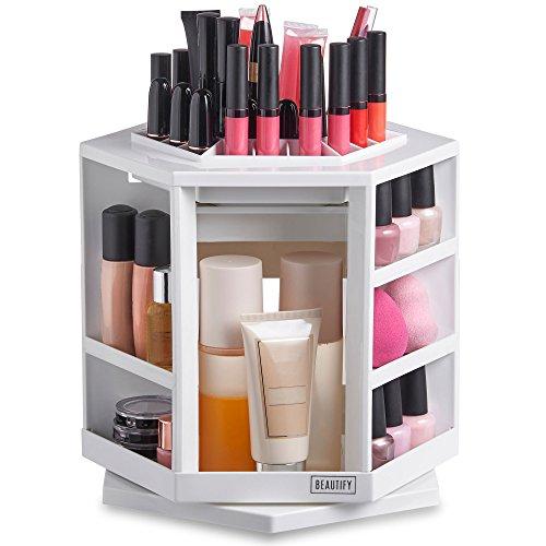 Beautify 360° Rotierender Makeup-/ Kosmetik Sortierkasten - Weiß