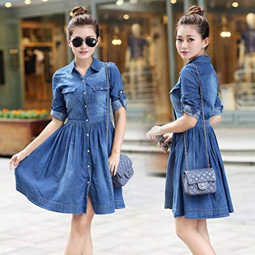 DAIDAILYQ Frühlings-Sommer-Art- Und Weisedamenblaues Denim-Kleid Jeans-Kleider Der Beiläufigen Frauen Der Dünnen Frauen (Der Denim-kleid Frauen)