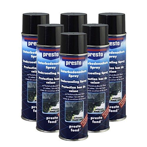 Preisvergleich Produktbild 6x 500ml Presto Unterbodenschutz UBS Bitumen schwarz Steinschlagschutz Unterboden Steinschlag Schutz Spray Dose