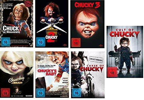 Chucky 1-7 DVD Set, deutsch, uncut, 1,2,3,4,5,6,7 Curse of, Cult of, und seine Braut, Chuckys Baby I-VII, 7 dvds (Chucky-dvd-set)
