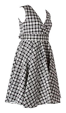 Fashion House Vintage 1950s Rockabilly Swing Cocktail Dress Plus Size Black/White Check Print 14