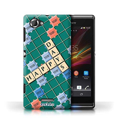 Kobalt® Imprimé Etui / Coque pour Sony Xperia L/C2105 / Jours Heureux conception / Série Mots de Scrabble Jours Heureux