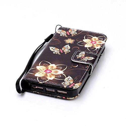 Ekakashop Custodia iphone 7 4.7 inch, Cover iphone 7 2016 model, Elegante borsa Custodia in Pelle Protettiva Flip Portafoglio libro Case Cover per Apple iphone 7 4.7 inch / con Carte Slot / Chiusura M fiori farfalla
