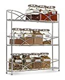 LIVIVO ® Free Standing 3 Tier Spice and Herb Rack –Counter Table Top Storage Shelving Solution for Up to 21 Jars and Bottles – Universal Size Fits Most Brands – Non Slip Rubber Feet (Chrome)