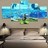 Rymh 5 Stücke Gedruckte Leinwände Legend of Zelda Wandkunst Artwork Landschaft Einrichtungsgegenstände No Framed,F,80X150cm