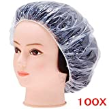 JZK 100 Trasparente cuffia doccia monouso per adulto & bambini, cuffia da bagno usa e getta cuffia per capelli doccia