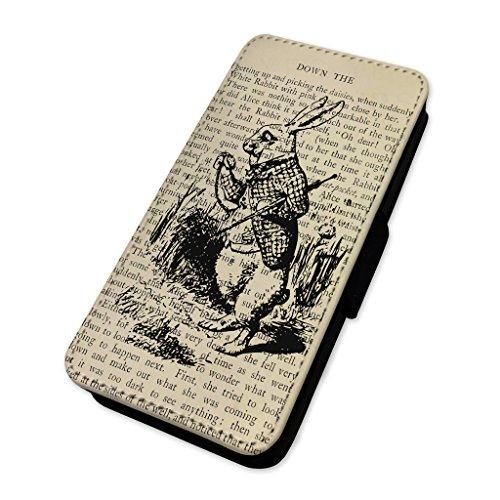 Retro Rabbit Book pagina–Wonderland–Flip cover in pelle copertura di carta Apple Iphone 8 Plus