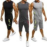 Herren Gym Outfit Set ärmellose Slim Fit Weste Tank Tops elastische Taille Taschen Shorts Training Stringers Bodybuilding Fitness Sport Kleidung Set (XL, schwarz)