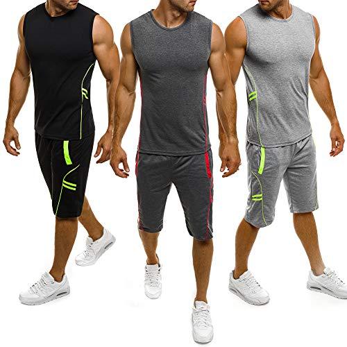 Herren Gym Outfit Set ärmellose Slim Fit Weste Tank Tops elastische Taille Taschen Shorts Training Stringers Bodybuilding Fitness Sport Kleidung Set (XXL, dunkelgrau)