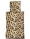 Basatex 4tlg Microfaser Bettwäsche 135x200, 80x80 cm Afrika Leopard Feel braun