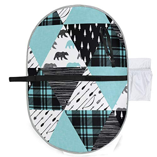 Urine pad Portable Diaper Changing Mat,Woodland Triangle Quilt Top Bear Black Light Teal Mattress Sheet Protector Pee Pads Urine Mat for Baby