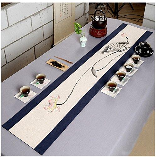 QiangZi Chemin De Table Chinois Rétro Peint À La Main Motifs Floraux Nappe Salon De Thé Cuisine Napperon, 30 * 240CM ( Couleur : Style4 , taille : 30*180cm )