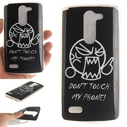 Qiaogle Teléfono Caso - Funda de TPU silicona Carcasa Case Cover para LG L Bello D331 D335 D337 (5.0 Pulgadas) - TX39 / Don't Touch My Phone