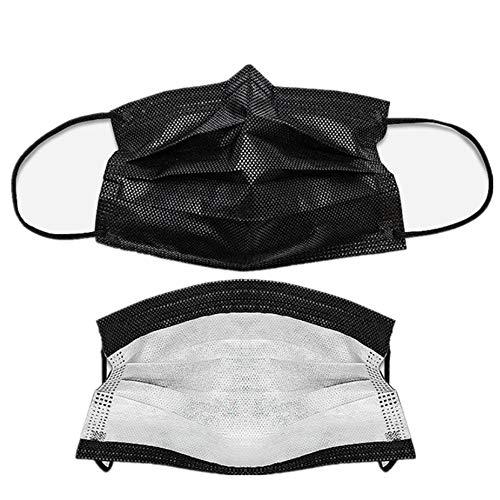 ZJW 100 PC-Wegwerfgesichtsmasken-Staubfilter-Masken Breathable Schwarze Gesichtsmasken mit elastischer Ohr-Schleife, verwendbar für Chirurgie, medizinisch, Antivirus, Grippe, Staub (Ohr-schleife)