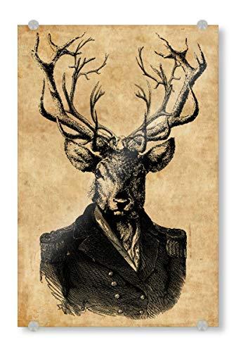 artboxONE Acrylglasbild 150x100 cm Tiere Steampunk Hirsch im Anzug - Bild Hirsch im Anzug Anzug Steampunk