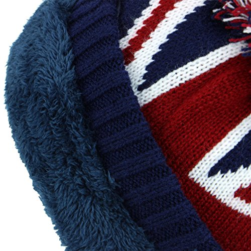 51HDfEktMKL. SS500  - Macahel Union Jack Bobble Beanie Hat with Super Soft Fleece Lining