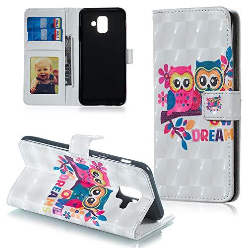 FNBK Handyhülle für Galaxy A6 2018 Hülle,3D Ledertasche Premium Flip Case Wallet Schutzhülle Kompatibel für Samsung Galaxy A6 2018 Tasche Bookstyle Ständer Kartenfächer Magnetic Lederhülle,Paar Katze