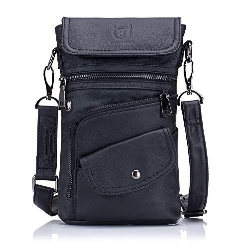 Herren 8in Leder (Herren Umhängetasche Herren Leder-Brusttasche Multifunktions 8-Zoll-Taschen für Shopping und Sport schönes Geschenk zum Erntedankfest (Color : Black, Size : M))
