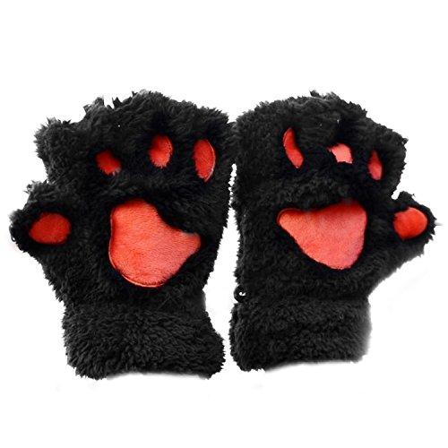 1 par mujeres lindo oso gato pata patrón cachemir invierno dedo medio guantes negros