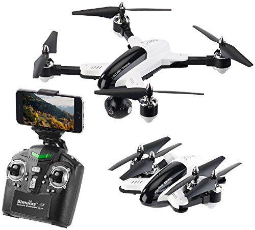 Simulus Drohnen: Faltbarer WiFi-FPV-Quadrocopter mit HD-Cam, 2,4-GHz-Fernsteuerung, App (Quadrocopter Drohne Kamera)