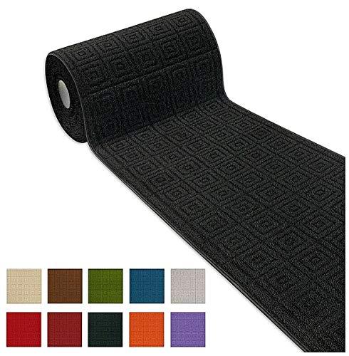 Arrediamoinsieme-nelweb tappeto corsia cucina su misura al metro h57 cm tessitura 3d bordato tinta unita retro antiscivolo mod.evita passatoia metro nero