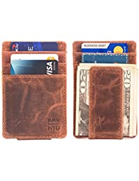 RAWHYD Genuine Leather Minimalist Wallet With Magnetic Money Clip - Made From 100% Top Grain Leather