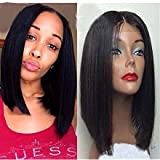 ATOZWIG Short Cut Bob Wig For Black Women Hot Style For Summer Silky Straight Synthetic Lace Front Wig With Baby Hair