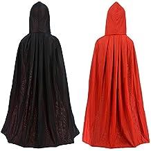 Mantello double face rosso e nero con cappuccio per Halloween, Pasqua, Natale, modello goth, vampiro