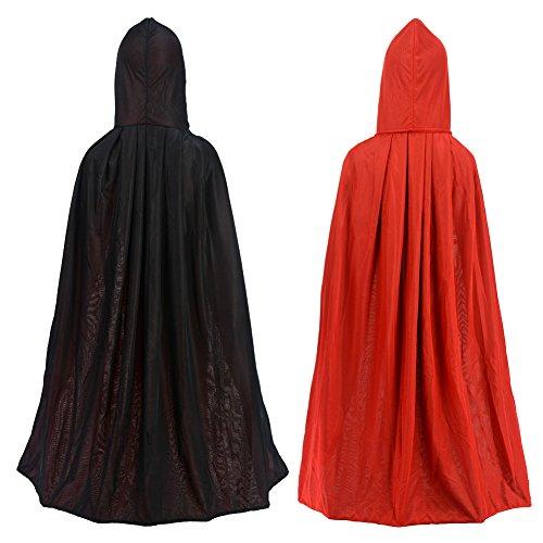 Ideen Roter Kostüm Umhang (Umhang/Cape doppelseitig rot schwarz mit Kapuze Halloween Ostern Weihnachten Gothic Vampir)