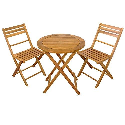 SSITG Gartenset 3 tlg, Balkonset zusammenklappbar, 1 Tisch rund + 2 Stühle aus Holz Gartenset 3...