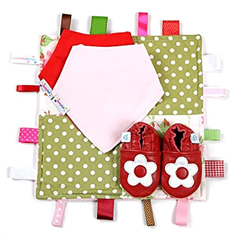 Dotty Fish Red & White Flower Leather Baby Shoes with Tag Blanket & Bibs - 0-6 Months - UK 2