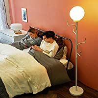 YUX Metal Floor Lamp Standing Lamp with Coatrack Vertical Table Lamp for Living Room Bedroom Reading Kids, 194cm R/27/14