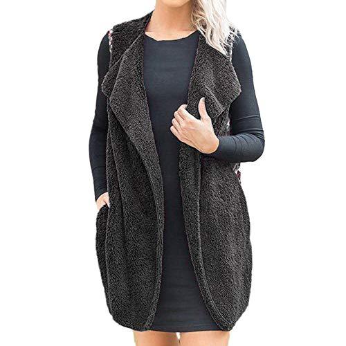 (i-uend 2019 Damen Mantel, Damen Weste Ärmellos Winter Warm Hoodie Outwear Mantel Faux Fur Zip up Sherpa Jacke)