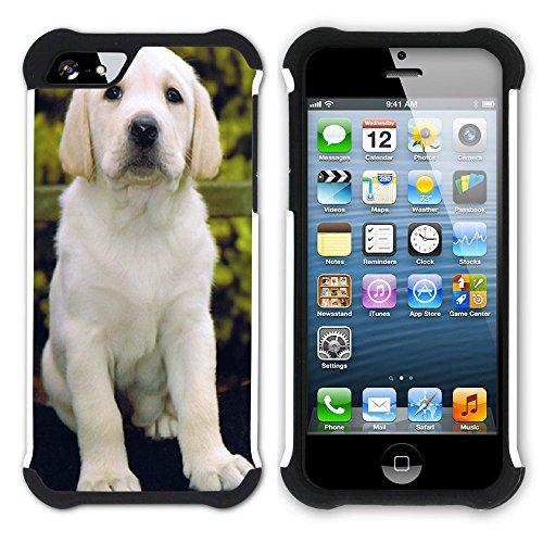 Graphic4You Labradorhund Labrador Retriever Hund Hündchen Tier Hart + Weiche Kratzfeste Hülle Case Schale Tasche Schutzhülle für Apple iPhone SE / 5 / 5S Design #1