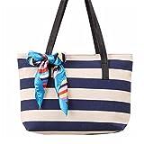 Bag Bags Frauen Multifunktions Handtasche Loveso Mode Leinwand Streifen Seidentuch Taschen Schultertasche Casual Handtasche (Dunkelblau, 38CM(L)*25CM(H)*10CM(W))