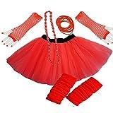 PAPER UMBRELLA Damen Mädchen Neon Tütü Rock Beinwärmer Handschuhe 5-TLG. Set - Rot, UK 8-14