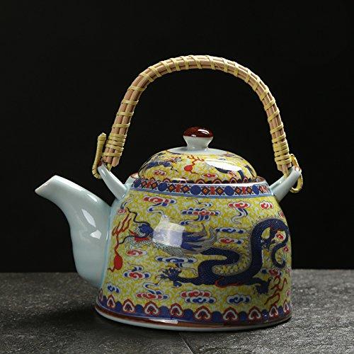 Bezigeorey Pot De Fleurs Vert en Céramique Tea Pot Accueil l'eau Fraîche Restaurant Restaurant Théière,Huang Shuanglong 1,15 litres