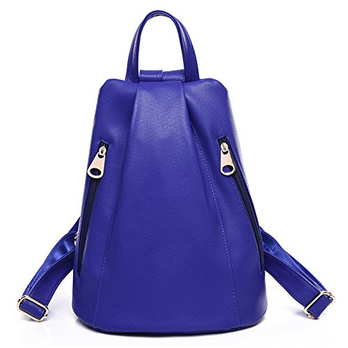 Mefly Semplice Tutti-Match Lavaggio Bag Student Travel Pu Pelle Gules blue