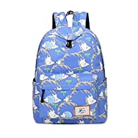 Acmebon Waterproof Colorful Print School Backpack for Girls and Boys women Casual Daypack Dark Blue Hedgehog 613