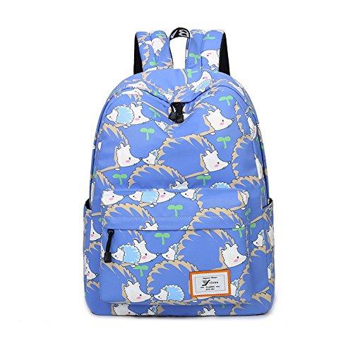 Acmebon Mochila escolar impermeable de estampado colorido Para Chicas y Chicos, Bolso Informal de Diario Para Mujeres Erizo azul marino 613