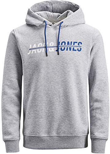 JACK & JONES Herren Kapuzenpullover Hoodie Core Storm Sweatshirt Corp Logo 12137053 S M L XL XXL (XXL, 5 Grau) -